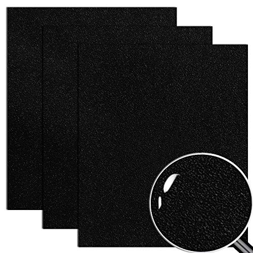 """Black Heat Transfer Vinyl HTV for Polyester/Cotton Apparel 12"""" X 10"""" (Pack of 3) Frosted Textured Surface and 3D Effect"""