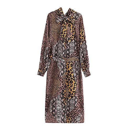 NVDKHXG Damesmode Leoapard-print Lange satijnen jurk Strikkraag Kraag Lange mouw Vintage dierenprint Jurken Stijlvolle sjerpen Jurk