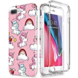 SURITCH Compatible avec Coque iPhone 7 Plus / 8 Plus Silicone 360 Degrés Unicorn Ultra Fine Souple Slim Integrale Antichoc Avant et Arrière Etui Case Cover Housse iPhone 8 Plus / 7 Plus - Licorne