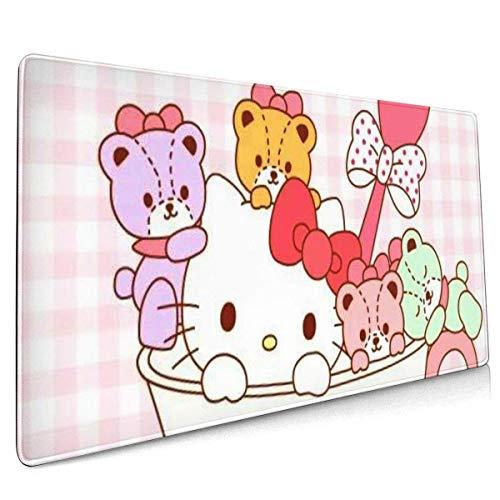 Hello Kitty - Alfombrilla de ratón grande para juegos con base antideslizante, portátil y plegable, bordes cosidos, para computadoras