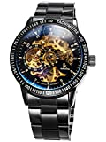 Classic Mens All Black Coated Glass Automatic Mechanical Wrist Watch Skeleton Gold-tone Movt