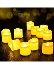 Velas de LED 12 Pcs, FOCHEA Velas Eléctricas sin Llama con Mando para Bodas Decoración, Navidad, San Valentín, Cumpleaños, Fiestas (Amarillo)