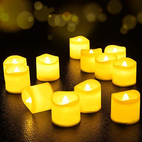 LED Kerzen, FOCHEA LED Kerzen Flammenlose LED Teelichter 12er Satz LED Tee Lichter batteriebetriebener mit Fernbedienung für Weihnachten, Ostern, Hochzeit, Party,Geburtstags