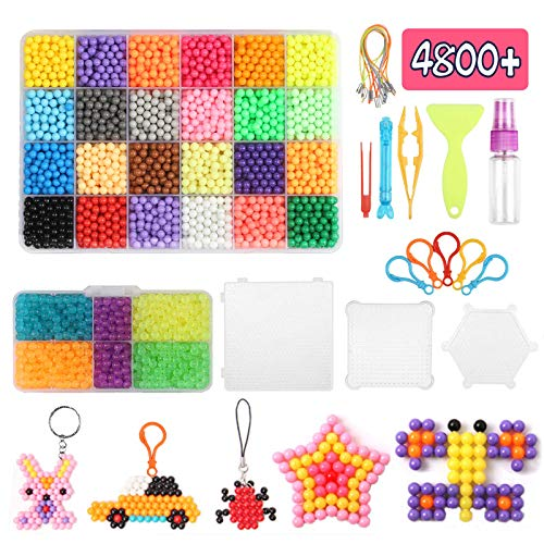 ZERHOK Water Fuse Bead, 4800pcs Magic Water Sticky Beads in 29 Water Spray Bead Educational Toy DIY Hand Making 3D Puzzle for Kids Beginners Gift