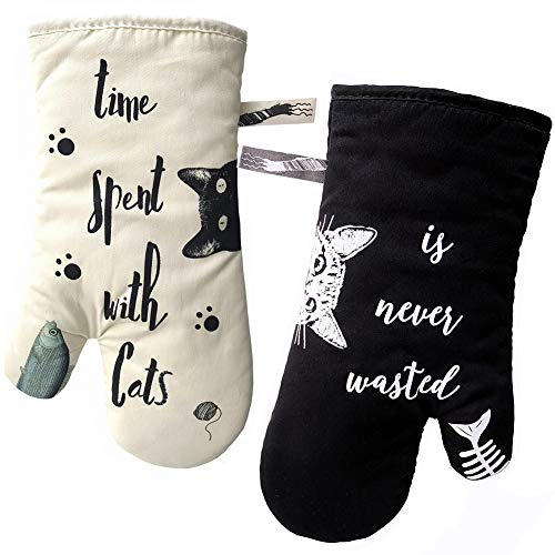 GREVY Guantes de Cocina, Guantes de Horno Resistentes al Calor Perfectos para Cocinar, Hornear y Barbacoas,Cat con gato negro