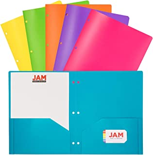 JAM PAPER Plastic 2 Pocket School POP Folders with 3 Hole Punch - Assorted Fashion Colors - 6/Pack