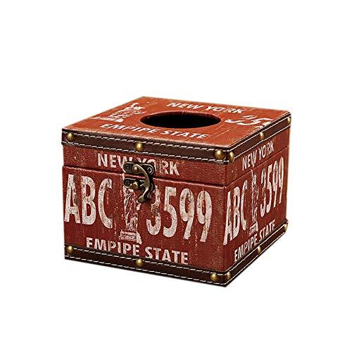 JUNGEN Caja de pañuelos Cuadrados Vintage Caja de pañuelos del Cuero y Madera Portapañuelos de Papel para Hogar Cocina Baño Coche Oficina Caja de Almacenamiento de Tejido (Estilo 8)