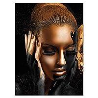 ブラックゴールドヌードアフリカンアートウーマン油絵キャンバスポスターとプリントスカンジナビアの壁画リビングルーム70x110cm(28x43in)フレームなし