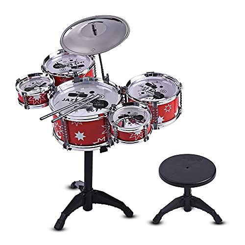 TOPHUHAI Niños niños Jazz Drum Set Kit Musical Instrumento Educativo Toy 5 Tambores + 1 Cymbal Pequeño Taburete Tambor Sticks para Niñas Niñas (Color : Red)