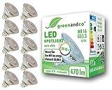 10x Spot LED greenandco® IRC 90+ 3000K 110° GU5.3 MR16 6W (corresponde a 45W) 470lm SMD LED 12V AC/DC, no regulable