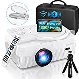 """Full HD WiFi Bluetooth Projector Built in DVD Player, 7500LM 1080P Supported, Portable Mini DVD Projector for Outdoor Movies, 250"""" Home Theater, Compatible with iOS/Android/TVStick/PS4/HDMI/USB/TF"""