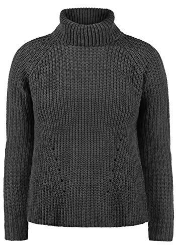 ONLY Romi Rollkragen Pullover Rolli Strickpullover Mit Rollkragen Oversized, Größe:L, Farbe:Dark Grey Melange