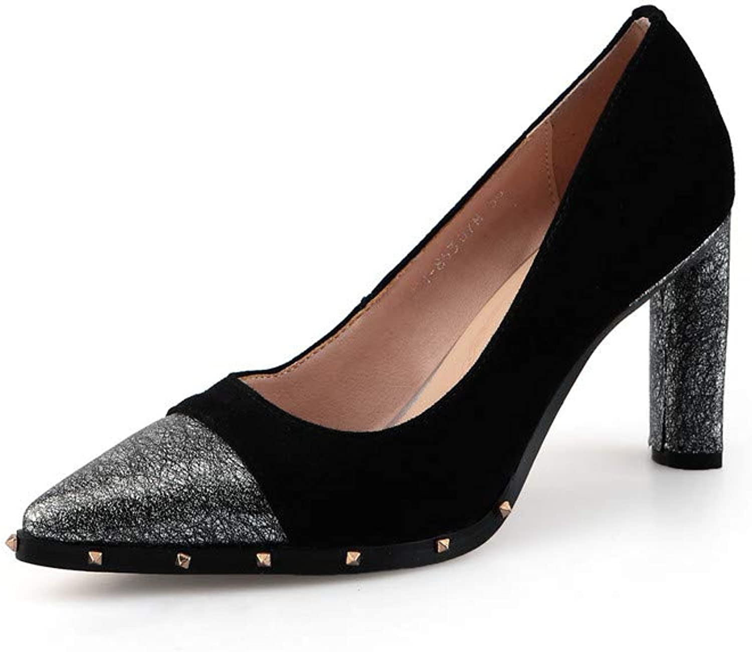 Nine Seven Suede Leather Women's Pointed Cap Toe High Chunky Heel Graceful Handmade Fashion Sexy Women Pumps with Rivet