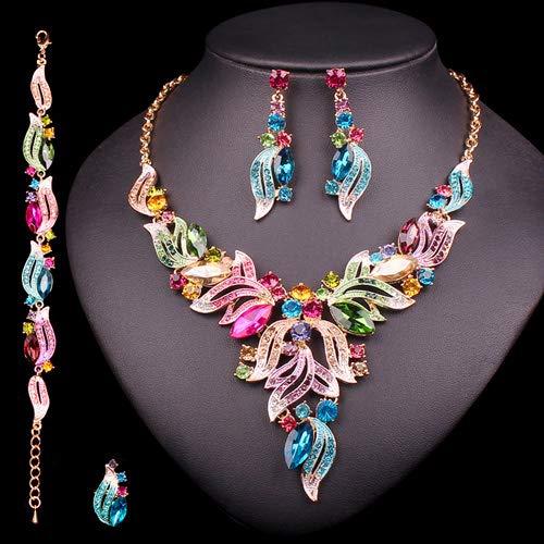 baidicheng Collar de novia de lujo para novia, conjuntos de joyas indias de boda, fiesta, bisutería para mujer, regalos de moda con hojas de cristal (color metálico: juego de 4 piezas)