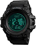 Mens Outdoor Sports Army Watches Pedometer Calories Digital Watch Altimeter Barometer Compass Thermometer Weather Men Watch (Black)