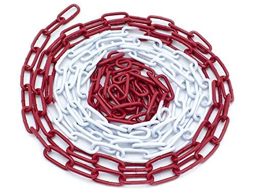 Absperrkette Rot-Weiß 5m, 10, 15m, 26m Stahl Glieder 5mm Rundstahlkette Warnkette Baustellensicherungskette (5 Meter)