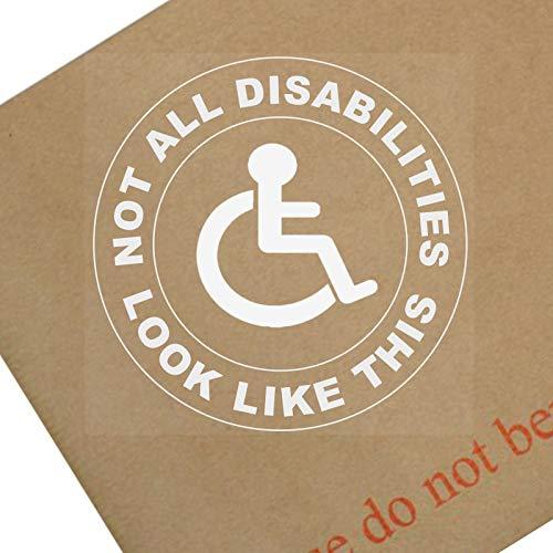 """Platinum Place Fensteraufkleber, Aufschrift """"Not All Disabilities Look Like This"""", rund, für Auto, Behinderte, Blau, Abzeichen für Fahrer, Beifahrer, Patient, 1 Stück"""