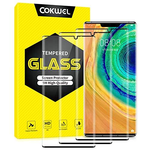 COKWEL [3 Pezzi Pellicola Protettiva Compatibile con Huawei Mate 30 PRO, Vetro Temperato [Copertura Completa] [Compatibile con la Custodia] [Senza Bolle]