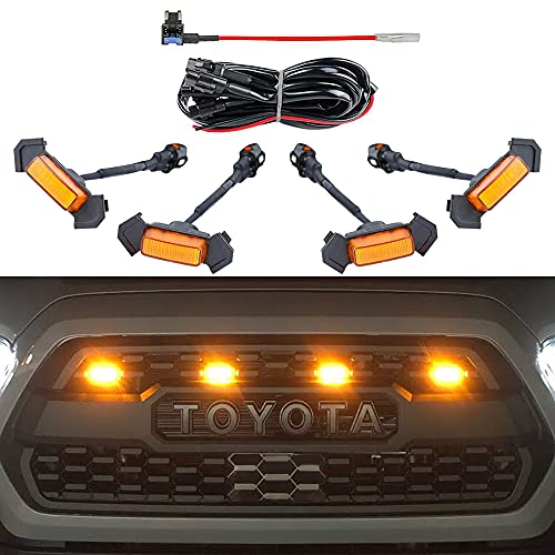 AUXLIGHT Car Accessories, 4PCS LED Front Grille Raptor Lights with Fuse & Wiring...
