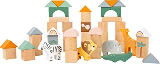 Small Foot Wooden Toys Safari Animal Theme Building Block Playset Designed for Children 12+ Months
