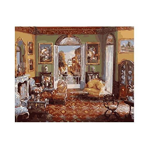 GYUGSD Lienzo De Bricolaje Regalo De Pintura Al Óleo para Adultos Niño Pintura por Número Decoraciones para El Hogar Sala 40X50Cm Sin Marco