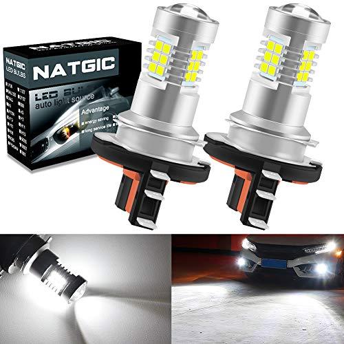 NATGIC H15 Bombillas para luces antiniebla Led Xenon White 2835 Conjuntos de chips SMD con lente Proyector para luces de circulación diurna, 10-16 V (2-Pack)