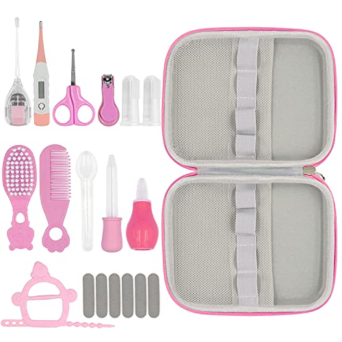 19 in 1 Baby Grooming Kit,Newborn Nursery Health Care Set Include Hair Brush Comb Finger Toothbrush,Nail Clippers,Thermometer,Nasal Aspirator,Ear Cleaner,etc. for Infant Toddlers Boys Girls Kids(Pink)