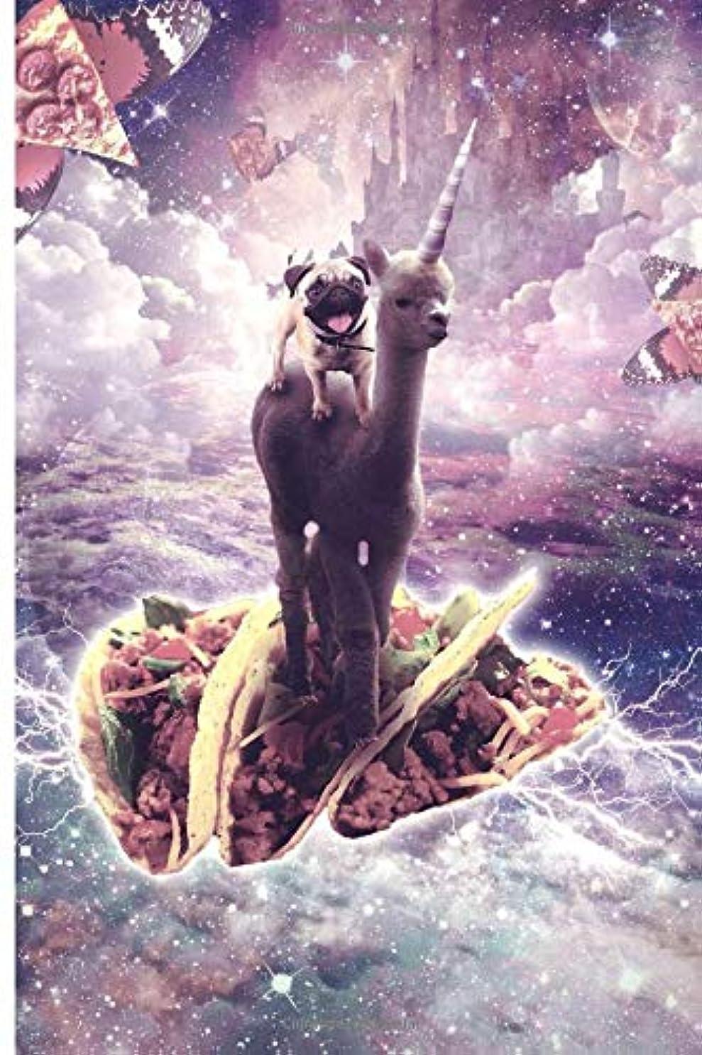 アダルトクリスマス赤字Space Pug Riding Alpaca Unicorn - Pizza & Taco Journal Notebook