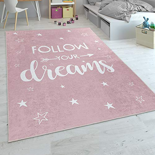 Alfombra Infantil, Tejido Plano para Habitación Infantil, con Frase Estampada Y Estrellas, Rosa, tamaño:80x150 cm