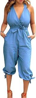 JiherBeauty Women's Elegant Jumpsuits Off Shoulder Short Sleeve Wide Leg Denim Long Pants Loose Rompers Overalls