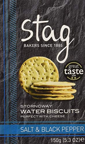 Stag Crackers de Agua con Sal Marina y Pimienta Negra - 4 Paquetes de 150 gr - Total: 600 gr