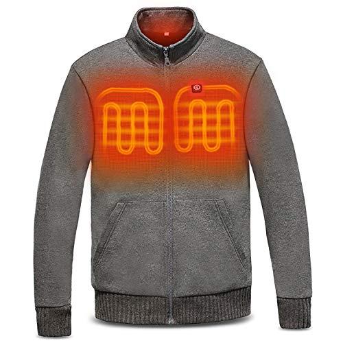 day wolf Heated Jacket Electric Warm Winter Fleece, 3 Heating Zone, 7.4V 5200mAh Battery for Men Women