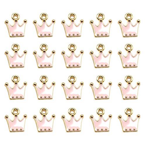 KESYOO 20 Pezzi Pendenti a Forma di Corona Ciondoli in Lega Fai da Te Creazione di Gioielli Accessorio per Orecchini Braccialetto (Rosa)