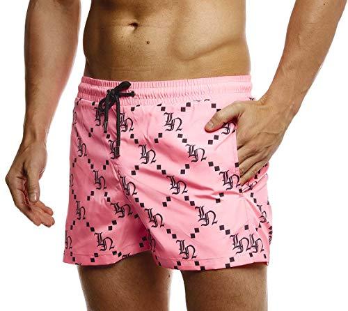 Leif Nelson Herren Sommer Badeshorts mit Taschen Männer Badehose Schwimmshorts Herren Schwimmhose-Beachshorts Jungen Strand Shorts Kurze Hosen Cargo Bermuda Chino LN92535 Pink Large