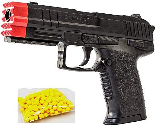 KS-11 Spielzeug Pistole ab 3 Jahren/schwarz / 0,08 Joule/Länge 19 cm / 6mm BB Softair Kugelpistole mit Magazin Airsoft Munition für Polizei Kinder Fasching Spielzeug für Jungs