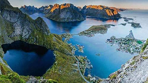 1000 rompecabezas de montañas noruegas, para niños y adultos, de madera, personalizable, 75 x 50 cm