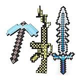 Accesorio de disfraz de Minecraft,pistola de piqueta de espada de diamante de espuma,pico de espuma de diamante,juego de juguete de espuma de mosaico de píxeles,pico azul+pistola amarilla+espada gris