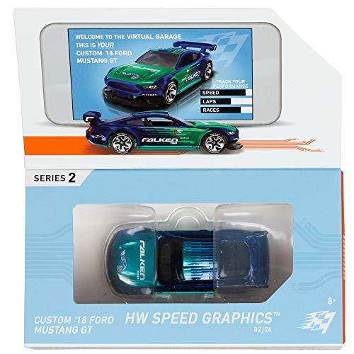 Hot Wheels iD GML07 - Die-Cast Fahrzeug 1:64 Custom \'18 Ford Mustang mit NFC-Chip zum Scannen in der Hot Wheels iD App, Auto Spielzeug ab 8 Jahren