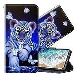 Cherfucome Funda para Samsung Galaxy J7 2017 Carcasa Libro Flip Case Magnético Funda de Cuero PU Carcasa Samsung J7 2017 Funda Móvil Case Flip Leather Wallet [B10*Tigre]