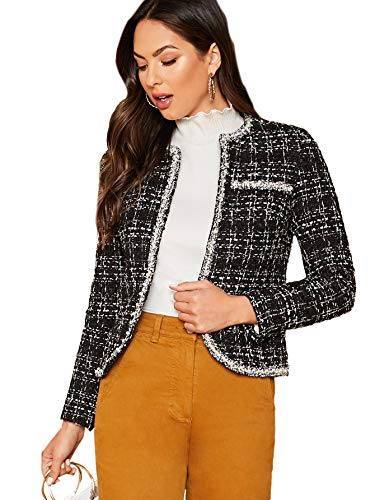 Womens Elegant Plaid Long Sleeve Pearl Embellished Vintage Tweed Jacket