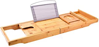 Badbak Bamboe Badbakbak Met Uitschuifbare Zijkanten Ingebouwd Boek Tablethouder Mobiele Telefoonhouder Wijnglashouder Hand...
