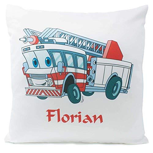 Kissen mit Namen Geburt Feuerwehr 40x40 cm inkl. Füllung Kuschelkissen, Kissen Farbe:Vorderseite weiß/RS rot