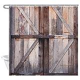 XBBAO - Cortina de ducha de madera rústica para puerta de garaje de madera antigua, estilo vintage, decoración de puerta de granja para baño, cortina de ducha de tela