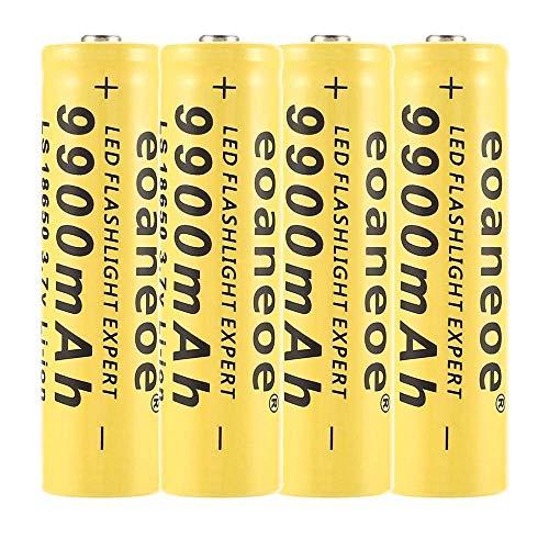 Pilas recargables 18650, batería de alta capacidad, 3,7 V, ICR, batería inteligente, batería inteligente utilizada para cargar el faro 1800 fois(lote de 4)