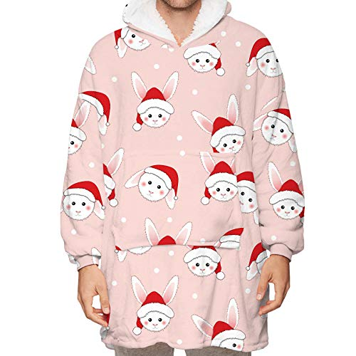 Wearable Blanket for Teens Kids Adults, Christmas Pattern Oversized Warm Comfortable Hoodie Blanket Sweatshirt with Kangaroo Pocket, One Size,Orange,One Size (Children)