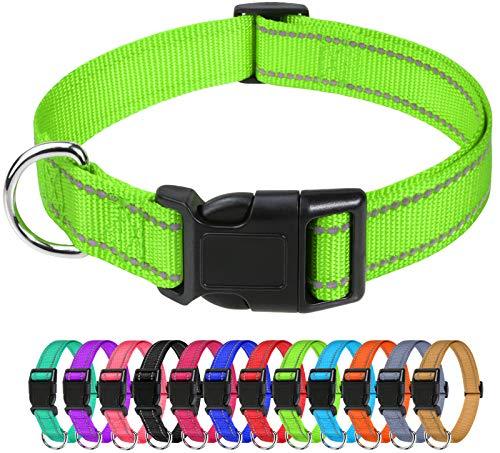TagME Collare per Cani in Nylon Riflettente, Fibbia Staccabile Durevole, Collari Di Sicurezza Regolabili per Cani Di Piccola Taglia, Verde, Larghezza 1.5 cm
