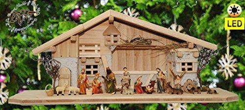 ÖLBAUMKRIPPE LED-beleuchtet -Krippen aus Naturholz,XXL Holz-Krippenstall-Weihnachtskrippe, mit Premium-DEKOSET mit Krippen-Tieren Schafe und Ziegen, MASSIVHOLZ