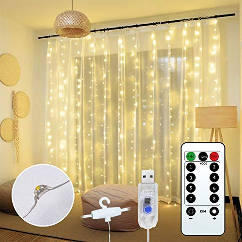 JEALNBONL 300 LED Window Curtain String Light, 9.8ft x 9.8ft Wedding Decorations String Light, Compilation with Bedroom, Home Garden, Outdoor Indoor Wall Christmas Decorations, Warm White