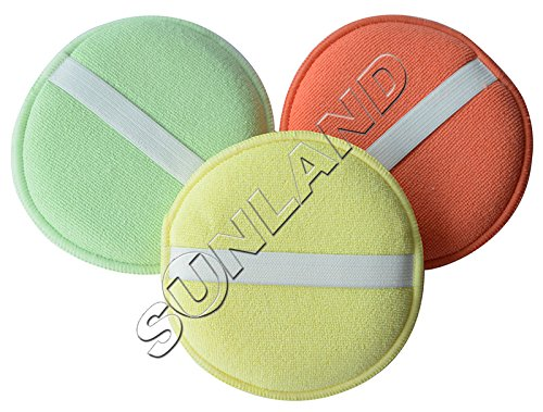 Generic United States, assorted color : Sinland 3pcs Microfibre Wax Applicator Car Care Polish Waxing Polishing Pad Foam Sponge 12.5cm Diameter with Elastic