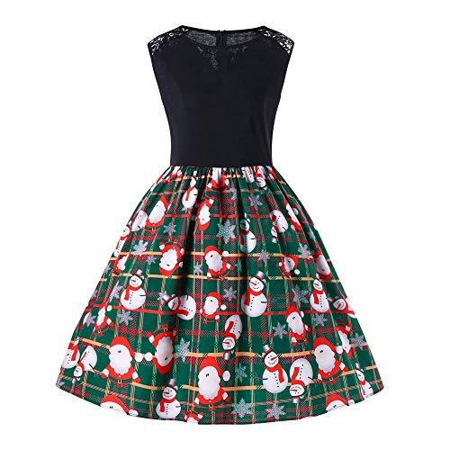 MRULIC Mädchen Kleid Ballkleid Abendkleid Minikleid Weihnachts Geschenk Ärmellos Winterrock Festliches Kleid Mehrfarbig Verfügbar Mode Neue Kleider 2018 (H-Grün,EU-42/CN-2XL)